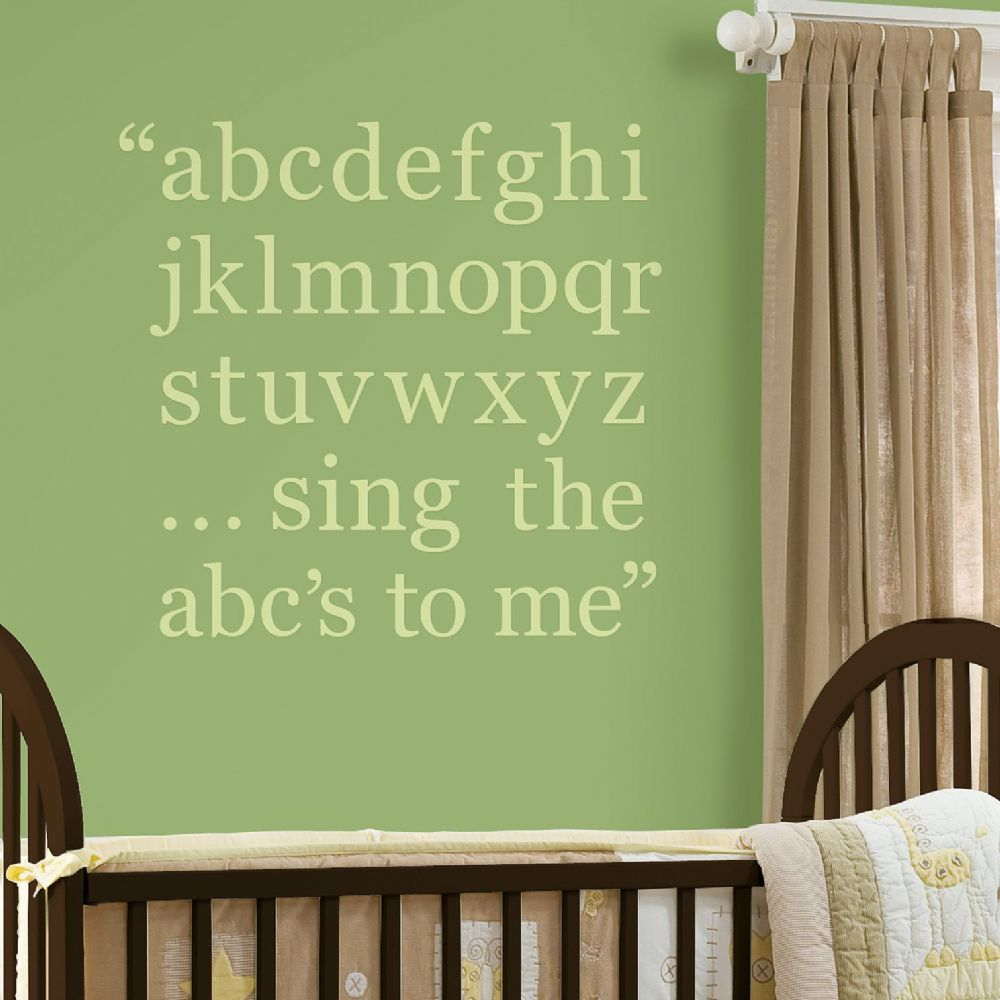 Pee Pod Green Childs Alphabet Wall Sticker Set